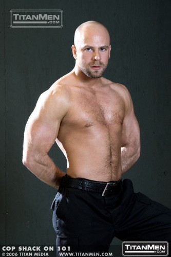 Nick-Horn-Cop-Shack-bald-shaved-head-goatee-hairy-big-cock-Titan-Men-model-gay-porn-star-former-bear-1