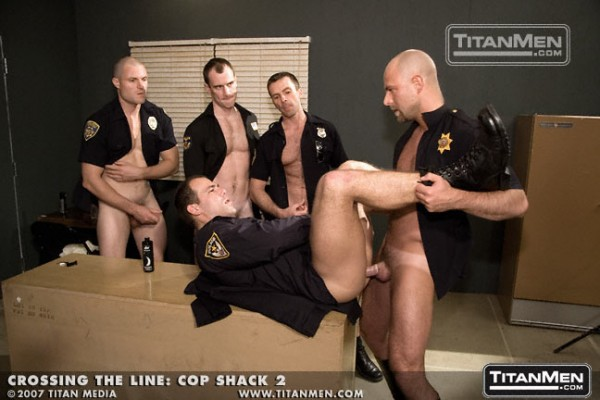 Nick-Horn-Cop-Shack-bald-shaved-head-goatee-hairy-big-cock-Titan-Men-model-gay-porn-star-former-bear-11