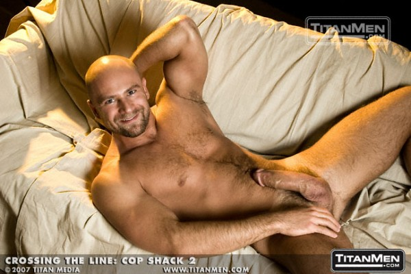 Nick-Horn-Cop-Shack-bald-shaved-head-goatee-hairy-big-cock-Titan-Men-model-gay-porn-star-former-bear-8